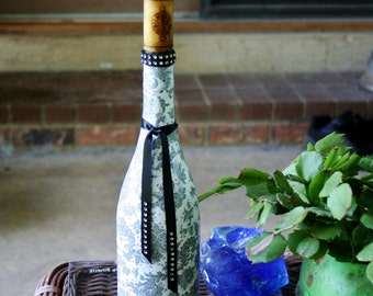 Decorated Wine Bottle with Wax Cork Candle