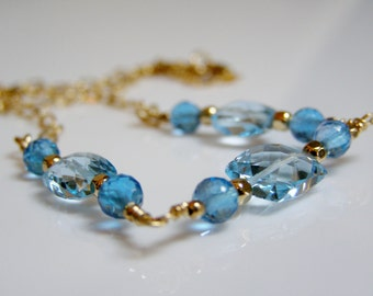 Blue Topaz Necklace - Faceted Sky Blue and Swiss Blue Topaz with 14K Gold Fill, Blue Topaz and Gold, Blue Stone - Gemstone - Birthstone