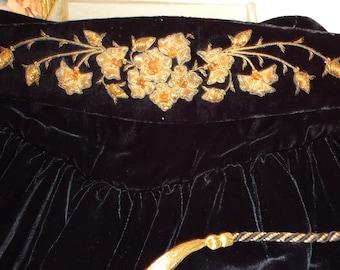 Vintage, Victor Costa, for Nieman Marcus, Black Velvet Skirt, Handmade Belt Luxurious Fabric,