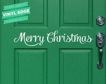 Merry Christmas Vinyl Door Decal - Christmas Door Decal - Vinyl Christmas Decal - Removable Vinyl Door Decal [DOOR0002]