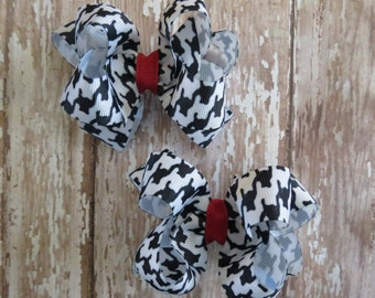 University of ALABAMA *Set of 2* pigtail hair bows Houndstooth Crimson Roll Tide football CFL SEC