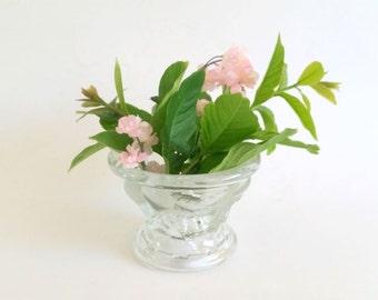 Vintage 3-D Glass Vase / Flower Vase / Dessert Glass / Candleholder / Teleflora c 1985