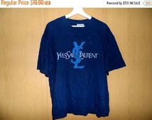 Marry Christmas Sale Vintage 90s YSL Yves Saint Laurent tricots pour homme paris hip hop designer dark Blue
