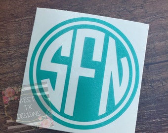 Circle Monogram Decal | Personalized Decal | Yeti decal | iPhone Decal | Monogrammed Sticker | Corkcicle Decal | Laptop Decal| Macbook Decal