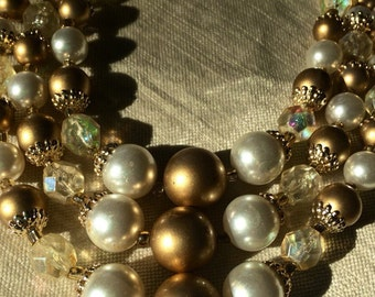 Pearl and crysral three strand necklace