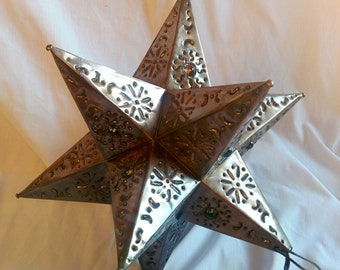 12 in. Mexican punched tin star lantern