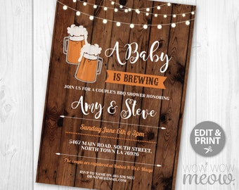 A Baby is Brewing Invitations Baby Shower Co-Ed Couples Wood Beer Invites BBQ INSTANT DOWNLOAD Party Rustic Brew and BaByQ Editable & Print
