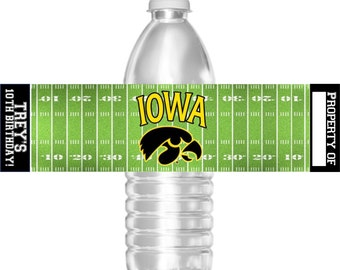Printable Iowa Hawkeyes Football Birthday Party Water Bottle Labels College 16.9 oz Water Party Favors Baby Shower Bar Mitzvah