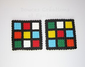 2 Rubik's Cube Coaster, 8 bit geek, perler Hama bead, handmade, kitchen accessory table