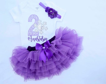 Baby Girl 1st Birthday Outfit First Birthday Girl Outfit Purple Silver Snowflake 1st birthday outfit 2nd birthday outfit girls cake smash