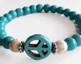 Men's Peace Sign Bracelet, Men's Gemstone Bracelet, Men's Turquiose Bracelet, Men's Howlite Bracelet, Men's Stretch Bracelet, Gifts for Him