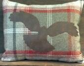 Brown tweed cushion, Hen harrier design, bird decorative cushion, rustic woodland decor, bird of prey, country decor, country check pad
