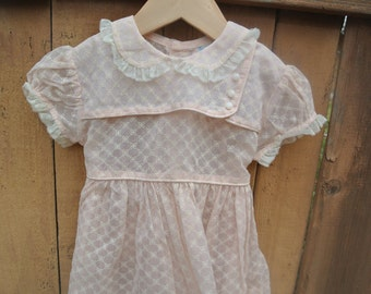 Vintage Toddler Girl Pink Sheer Mesh Dress with Flowers Lace Peter Pan Collar Youngland Brand