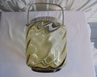 French vintage cake bowl/green glass bowl/biscuitpot/1930/cake pot/biscuit bowl