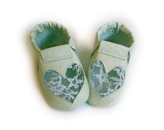 mint green heart shoes
