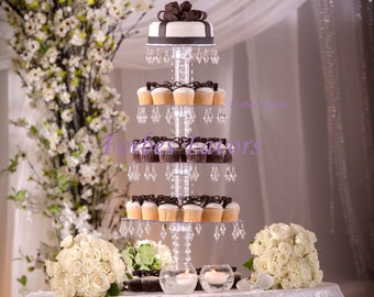 Chandelier Crystal Prism 4 Tier Cupcake Tower Stand Wedding and Events Dessert Tower