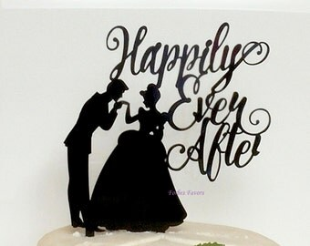 Happily Ever After Bride and Groom Acrylic Wedding cake Topper