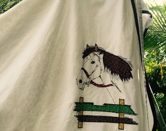 Vintage 70's gauze embroidered horse wrap skirt