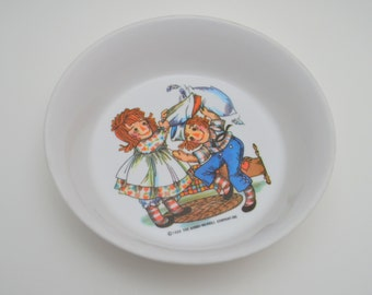 Vintage Raggedy Ann and Andy Melamine Bowl, Pillow Fight, Oneida Deluxe, Plastic Cereal Bowl, 1960s