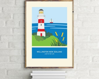 Light of my life – illustration. A3 or A4 print – Wellington New Zealand series