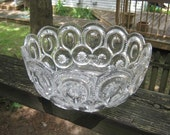 Moon And Stars Clear Glass Serving Bowl,  Vintage Pattern,  Cottage Chic Decor,