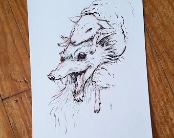 Wolf in sheeps clothing - Inktober original