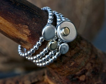 Sterling Silver Stack Ring Set, Hammered Stack Rings.