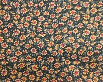 3 yds Daisies on green background cotton fabric