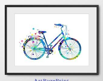 Bicycle Print, Bike Print, Bicycle Watercolor, Colorful Bicycle Print, Bicycle Wall Art, Bicycle Painting, Bike Wall Art (No A0114)