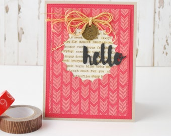 Handmade Hello Card!  Blank Inside