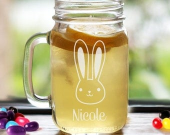 Easter Bunny Engraved Mason Jar, Personalized Easter Glass, Custom Easter Glass, Glass with Name