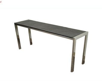 10% Off Sale! Vintage Mid Century Modern Chrome & Slate Console Hall Table Milo Baughman Style
