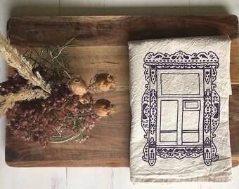 Flour Sack Towel (Unbleached) - Kaluga Russian Window (Purple) - Hand Screen Printed