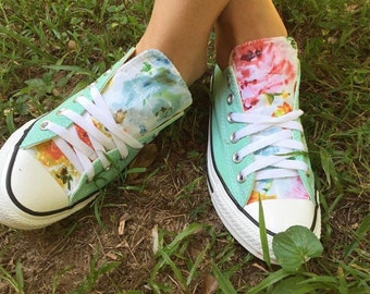 Mint Floral Converse Shoes