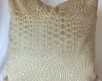 """Cut Velvet Circles & Swirls Scalamandre Striae Velvet Back Golden Beige 17.5""""sq."""