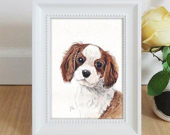 Puppy Watercolor Illustration - Framed Original