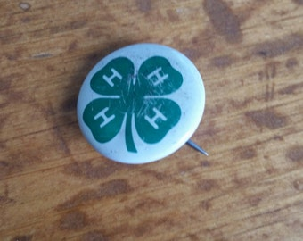 Vintage 4H Pinback Button Free Shipping
