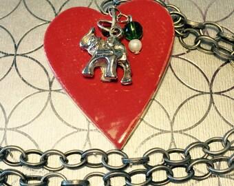 Elephant Stoneware Heart Pendant Necklace