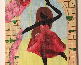"""Summer Dance Acrylic and Watercolour Painting 5"""" x 7"""""""