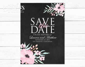 Rustic Save the Date Template, Printable Save the Date Rustic Flowers, Save the Date Boho Watercolor Flowers, DIY Save the Date Black Floral