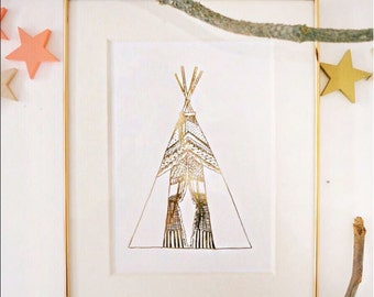 Gold Foil Teepee (8x10 or 5x7) SALE