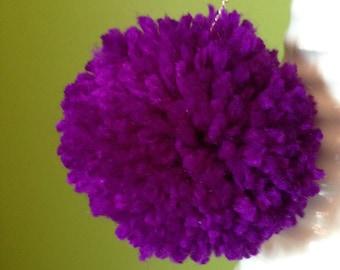 Violet/purple Pompom earrings