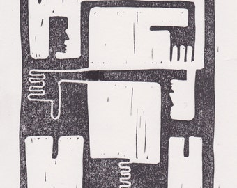 Hugging Men Lino Print Greetings Card