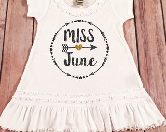 Miss June Birthday Girl Dress Gold Sparkle Birthday Shirt Baby Girl Birthday Dress Girl  Birthday Outfit, Choose your month,Miss June