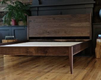 Mid Century Modern Platform Bed // Storage Bed // Danish Modern // All Solid Walnut bed//