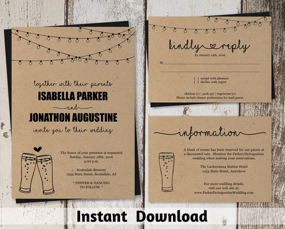 Free Rustic Wedding Invitation Templates: Brewery Wedding Invitation Template Rustic Beer Pint Glass
