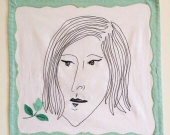 Grace (2016) machine embroidery illustration art drawing handmade girl