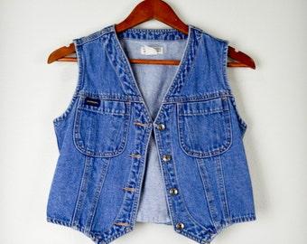 Cropped Denim Vest, Jean Vest, 90s Clothing, 90s Clothes, Small, Vintage Clothing, Vintage Clothes, Grunge, Retro, Hipster, 80s Clothing