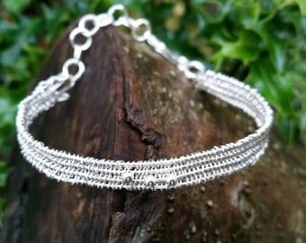 Sterling silver bracelet .Adjustable.