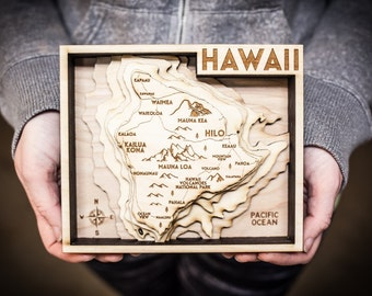 Hawaii Wood Map - Big Island
